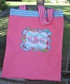 Pink Turquoise Chevron Canvas Tote Bag for Girl's