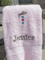 Pink Colored Bath Towel Horse Jumping over Hearts