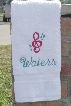 Personalized Pink and Turquoise Music Note Hand Towel