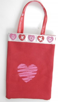 Valentine Treat Bag with Pink Hearts for Party Bags