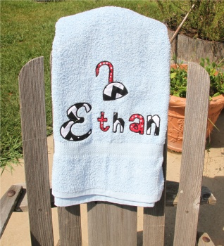 Pirate Hook Applique Letters Colored Bath Towel
