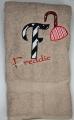 Pirate Hook Sword Fabric Applique Letter on Bath Towel
