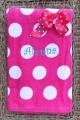 Shocking Pink Polka Dot Bow & Matching Beach Towel Set