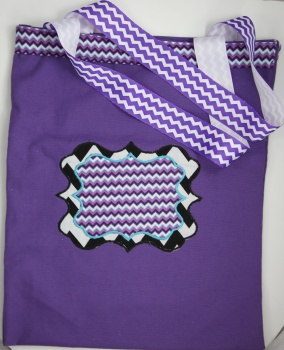 Purple Chevron Sassy Monogram Tote Bag
