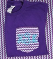 Chevron Purple Pocket Tee Shirt Monogrammed Initials