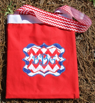 Blue and Red Chevron Canvas Tote Overnight Bag