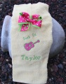 Rock On Guitar Applique Towel and Polka Dot Bow Set