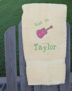 Rock On Guitar Applique Towel