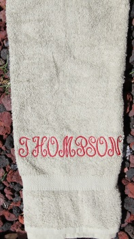 Personalized Embroidered Sage Green Towel French Curly