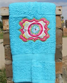 Sassy Monogram Applique Bath Towel Monogrammed Initial