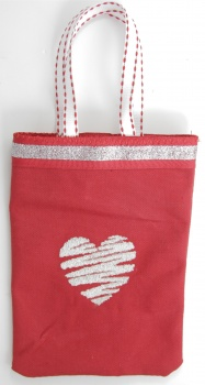 Silver Heart on Red CanvasTreat Bag