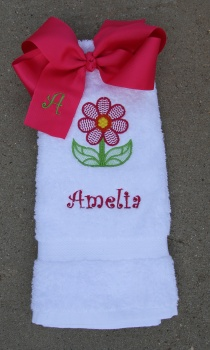 Spring Flower White Hand Towel Matching Hot Pink Bow