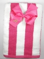 Shocking Pink Striped Cabana Beach Towel and Bow Set