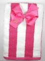 Shocking Pink Striped Cabana Beach Towel and Bow Set