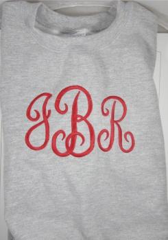 French Curly Monogram Font on Girl's Sweatshirt