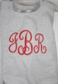 French Curly Monogram Font on Girl's Sweatshirt