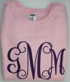 Vine Monogram Initials on Girl's Sweatshirt