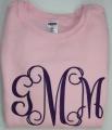 Vine Monogram Initials on Girl's Sweatshirt