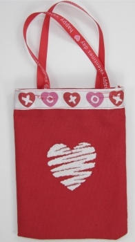 Valentine Treat Bag with White Hearts Embroidered