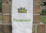 Personalized Embroidered Green Frog White Hand Towel