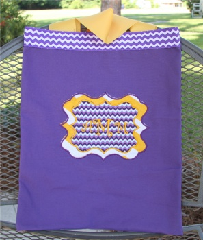 Purple and Yellow Chevron Canvas Tote Bag for Girls