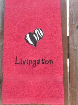 Personalized Zebra Print Heart Applique Red Hand Towel