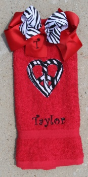 Personalized Zebra Print Heart Hand Towel and Bow Set