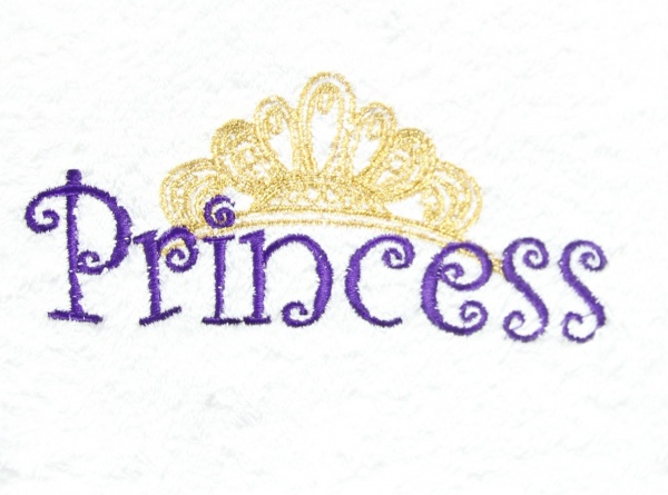 Embroidered Gold Princess Crown White Hand TowelGold Princess Crown