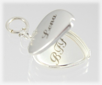 Silver Locket Heart Shaped Personalized Engraved